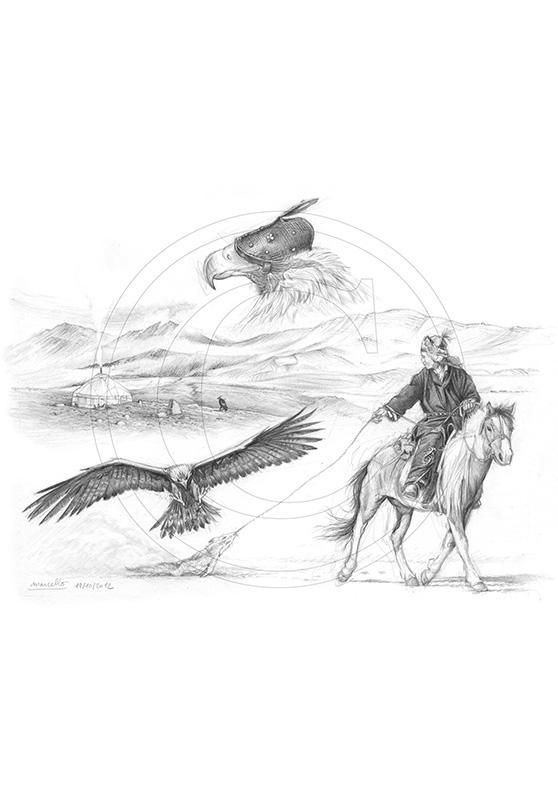 Marcello-art : Faune zones tempérées 204 - Sayat - Dressage de l'aigle
