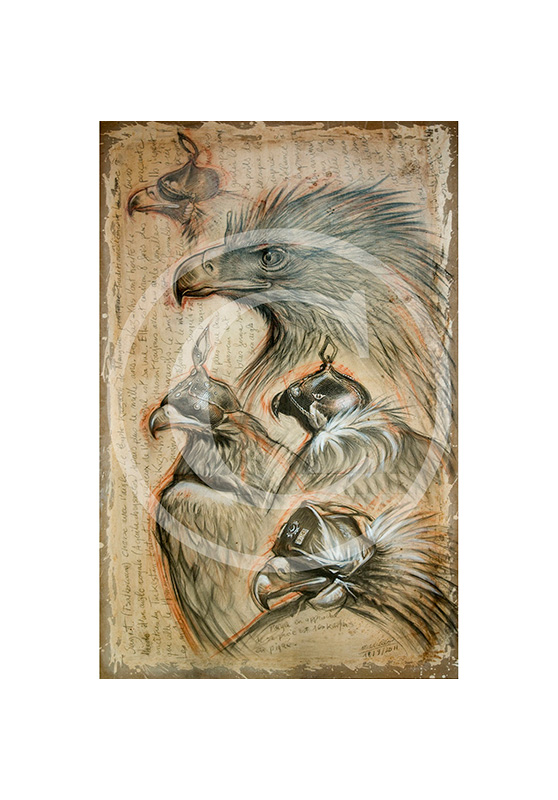 Marcello-art : Originaux sur toile 105 - Sayat, chasse à l'aigle