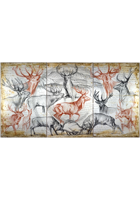 Marcello-art: Originals on canvas 295 - Triptyque Red Deer