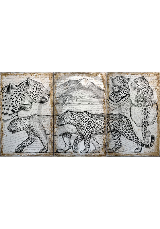 Marcello-art : Originaux sur toile 296 - Triptyque léopards kitumbeine