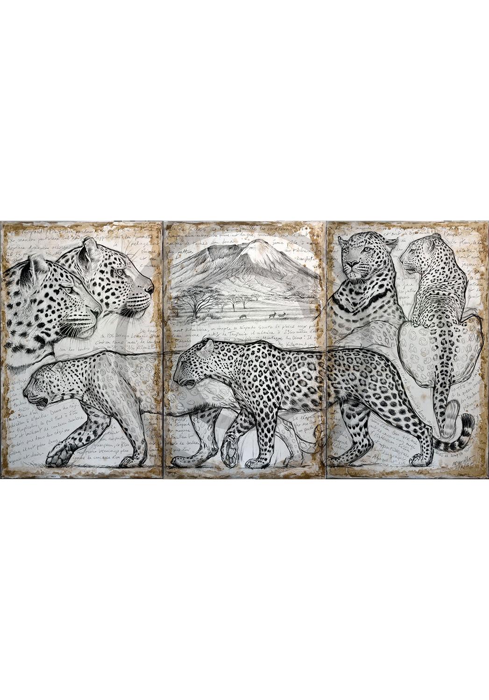 Marcello-art: Originals on canvas 296 - Triptyque kitumbeine leopard