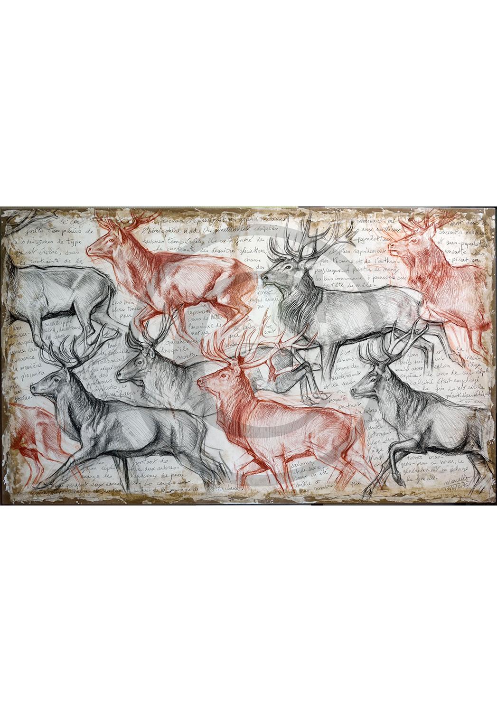 Marcello-art: Originals on canvas 297 - The last herd