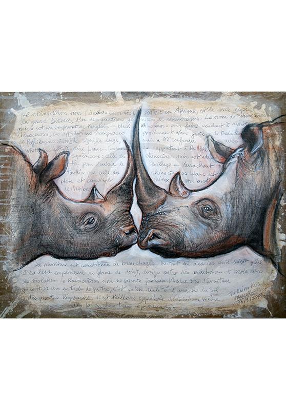 Marcello-art: Originals on canvas 106 - Rhino kiss