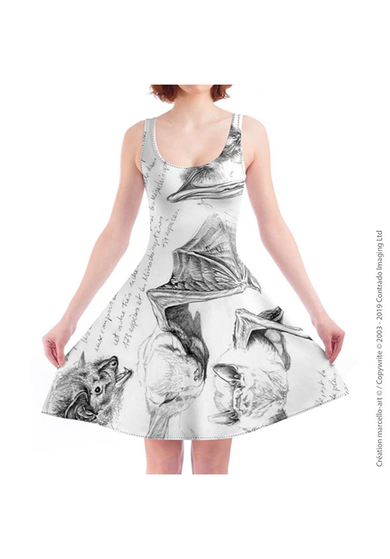 Marcello-art: Dresses Skater dress 31 Pipistrelle - white