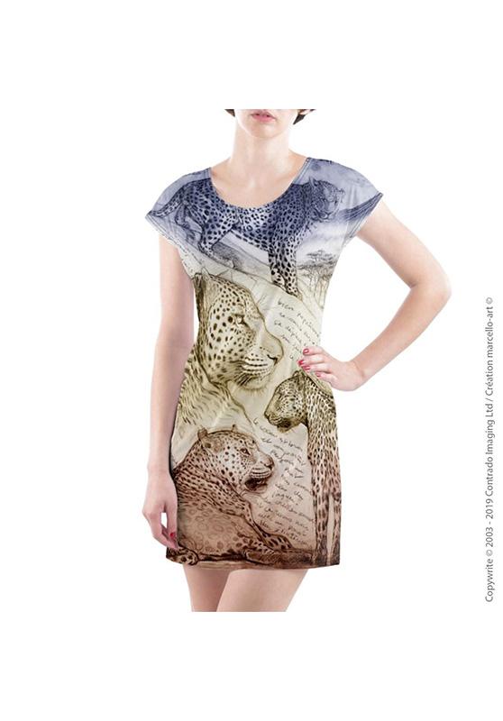 Marcello-art : Robes Robe T-shirt 252 Léopard sunset