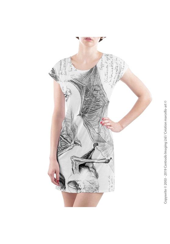Marcello-art : Robes Robe T-shirt 31 Pipistrelle - blanche