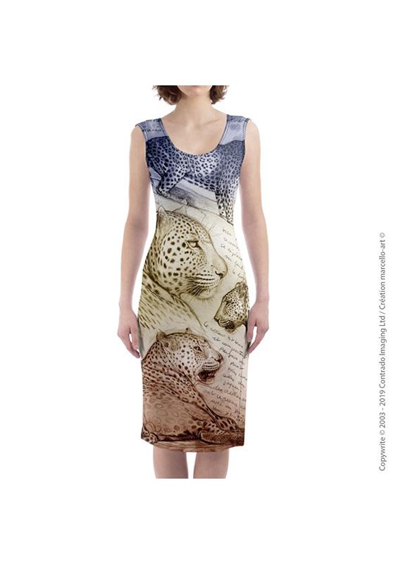 Marcello-art : Robes Robe mi-longue 252 Léopard sunset