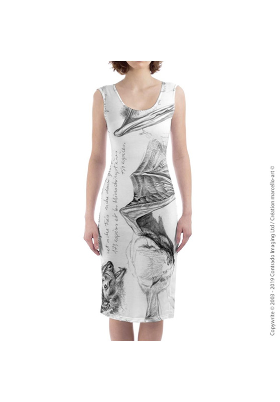 Marcello-art: Dresses Mid-length dress 31 Pipistrelle - white