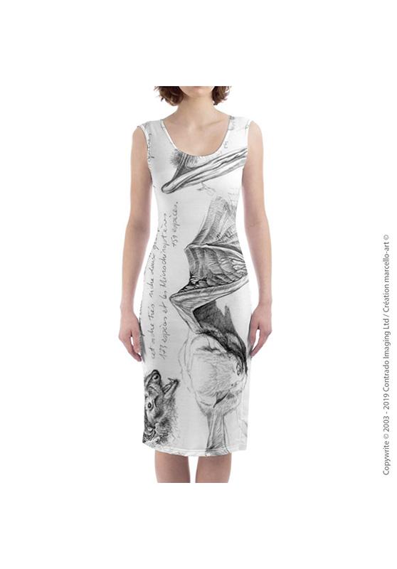 Marcello-art: Dresses Mid-length dress 31 Pipistrelle - white