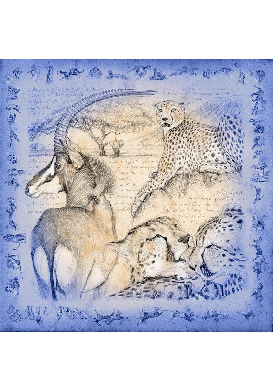Marcello-art: Square Square scarve 363 Twilight antilop Sable and Cheetah