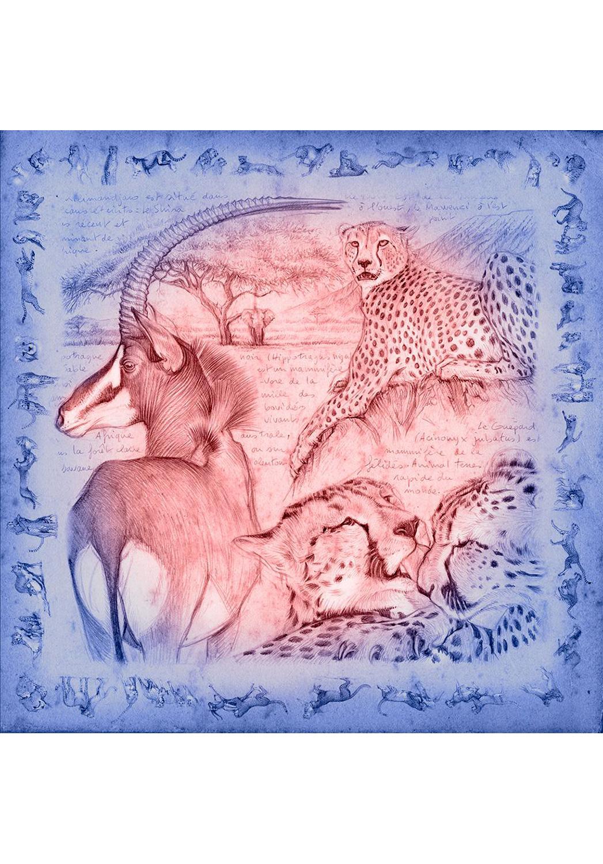 Marcello-art: Square Square scarve 363 Antilop Sable and cheetah dawn