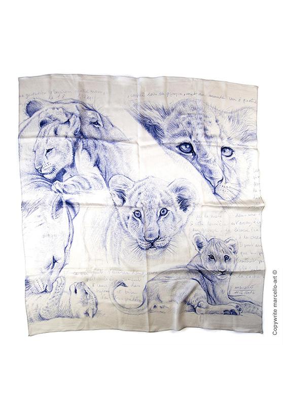 Marcello-art : Rectangulaires Foulard 330 Lionceaux - nacre