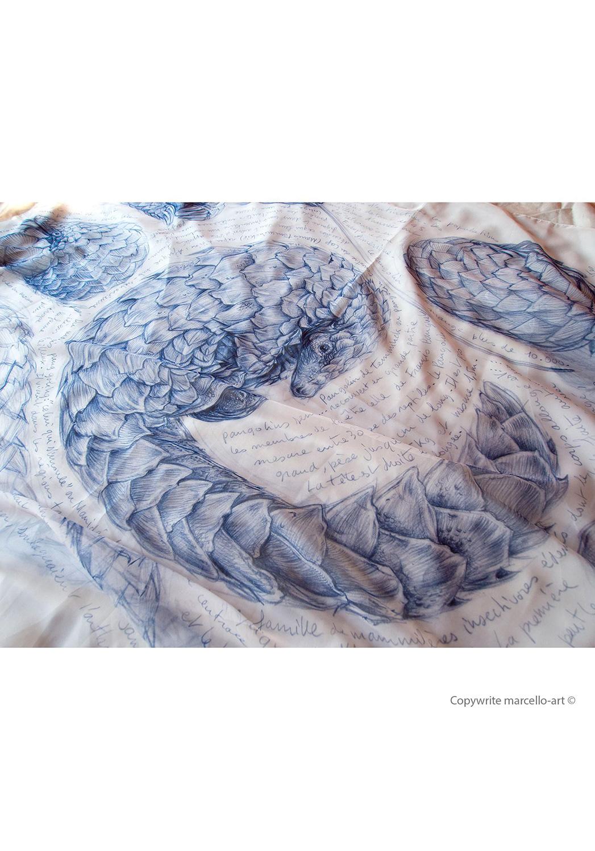 Marcello-art: Rectangular Rectangular scarve 276 Pangolin