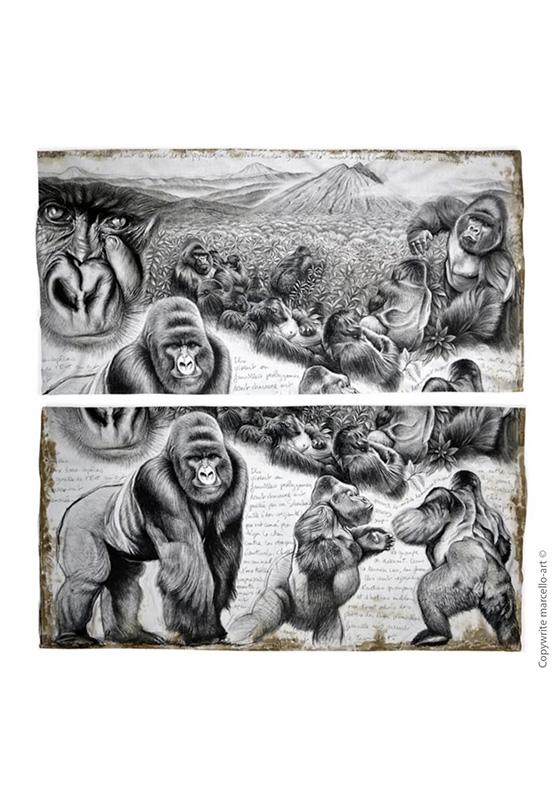 Marcello-art : Écharpe tube Écharpe Tube 301 Gorille Virunga