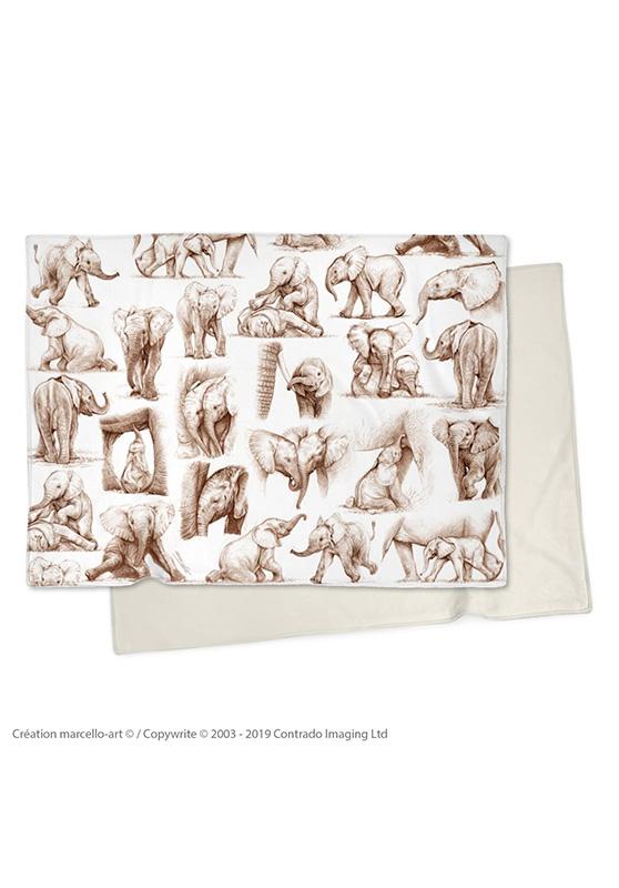 Marcello-art: Plaid Plaid 392 Patchwork elephants - sépia