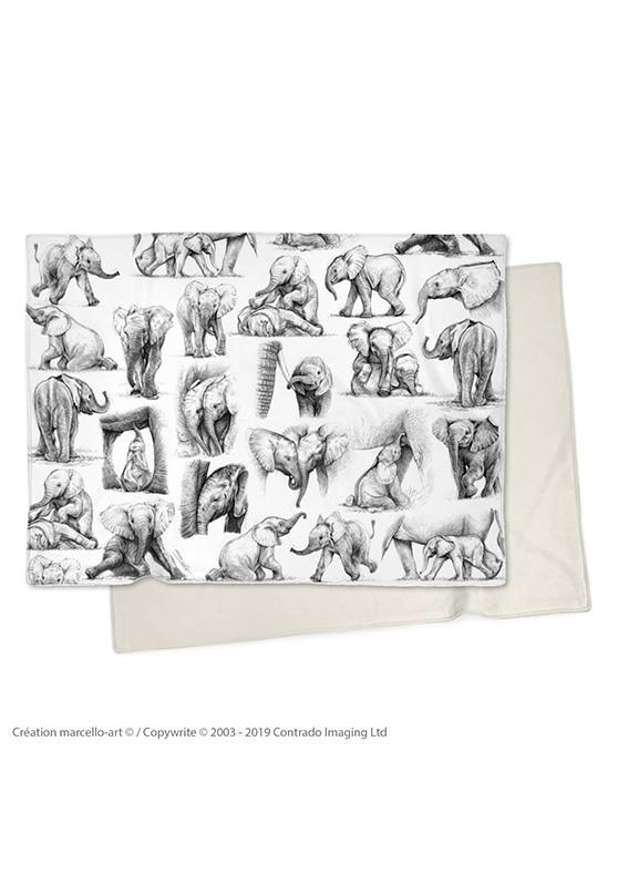 Marcello-art: Plaid Plaid 392 Patchwork elephants - black