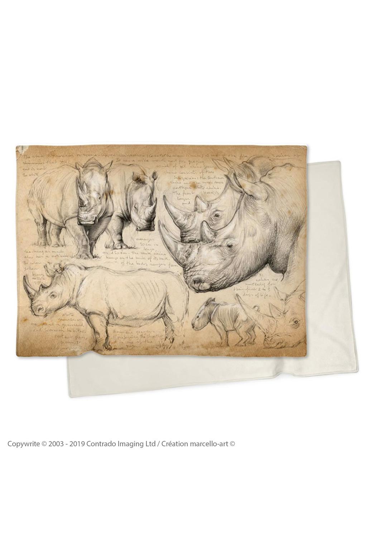 Marcello-art : Plaid Plaid 178 Rhino blanc