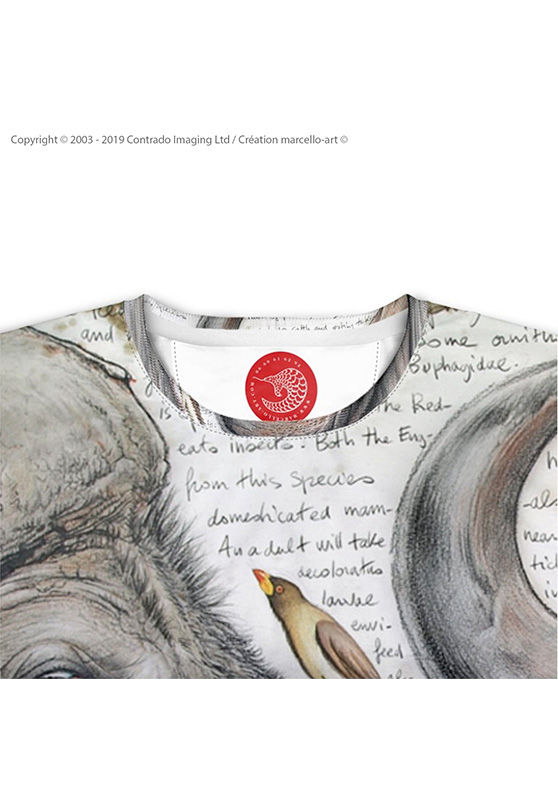 Marcello-art: Short sleeved T-shirt Short Sleeve T-Shirt 227 Red-billed Oxpecker