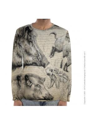 Marcello-art : Pour hommes T-Shirt manches longues 347 Sus scrofa