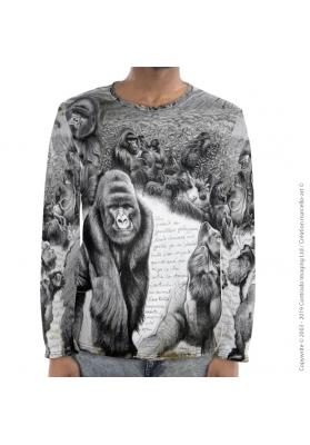 Marcello-art : Pour hommes T-Shirt manches longues 301 Gorille Virunga