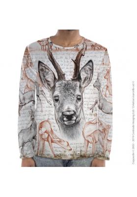 Marcello-art : Pour hommes T-Shirt manches longues 280 Chevreuil