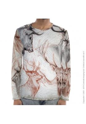 Marcello-art : Pour hommes T-Shirt manches longues 278 Cerf Elaphe