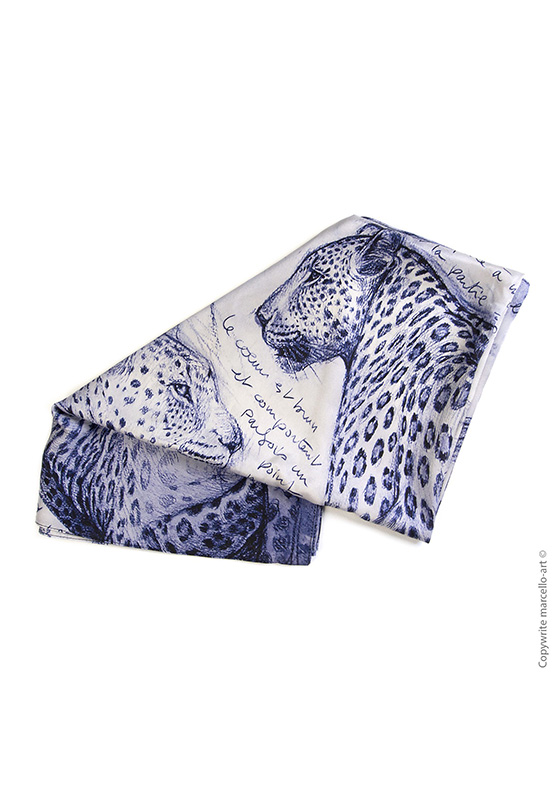 Marcello-art: Rectangular Rectangular scarve 252 Twilight leopard