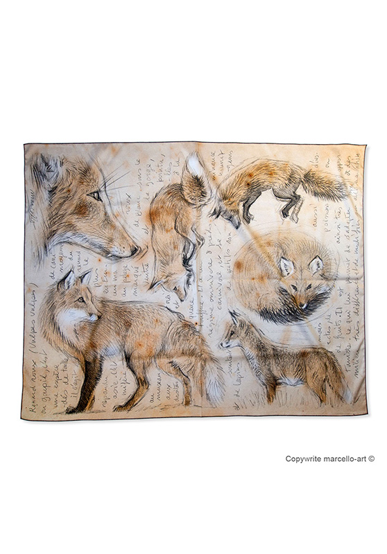 Marcello-art : Rectangulaires Foulard 336 Red fox