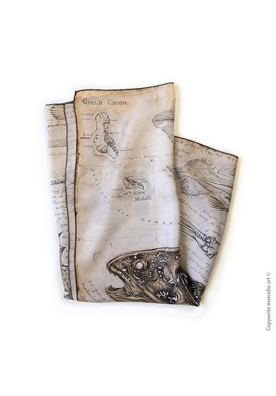 Marcello-art : Rectangulaires Foulard 346 Latimeria chalumnae