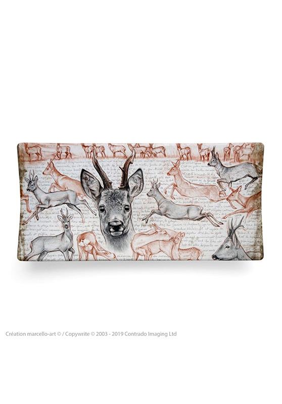 Marcello-art: Rectangular plates Rectangular plate 280 roe deer