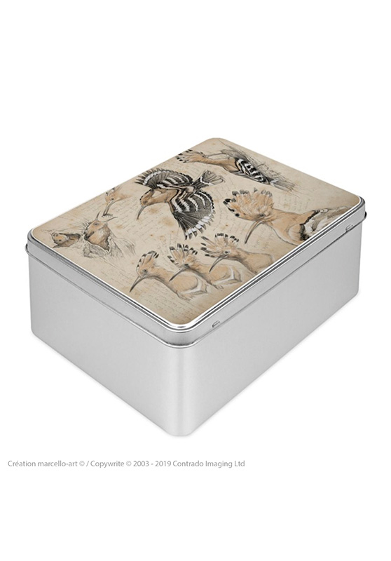 Marcello-art : Boîtes à biscuits rectangulaires Boîte à biscuit rectangulaire 182 huppe fasciée