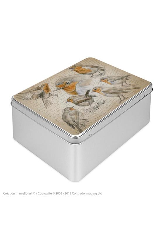 Marcello-art : Boîtes à biscuits rectangulaires Boîte à biscuit rectangulaire 282 rouge gorge