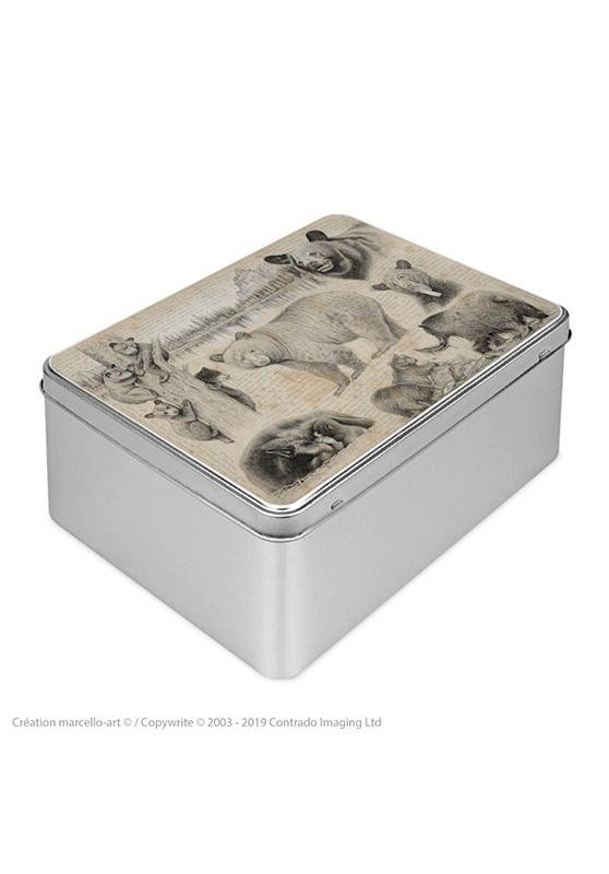 Marcello-art : Boîtes à biscuits rectangulaires Boîte à biscuit rectangulaire 382 ours noir