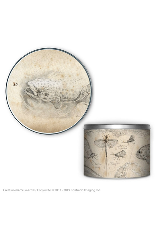 Marcello-art: Decoration accessoiries Round biscuit box 46 Trout of the Gaves