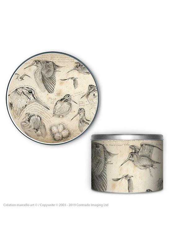 Marcello-art: Decoration accessoiries Round biscuit box 50 snipe