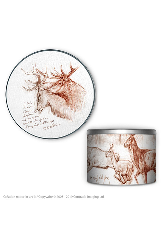 Marcello-art: Decoration accessoiries Round biscuit box 52 red deer