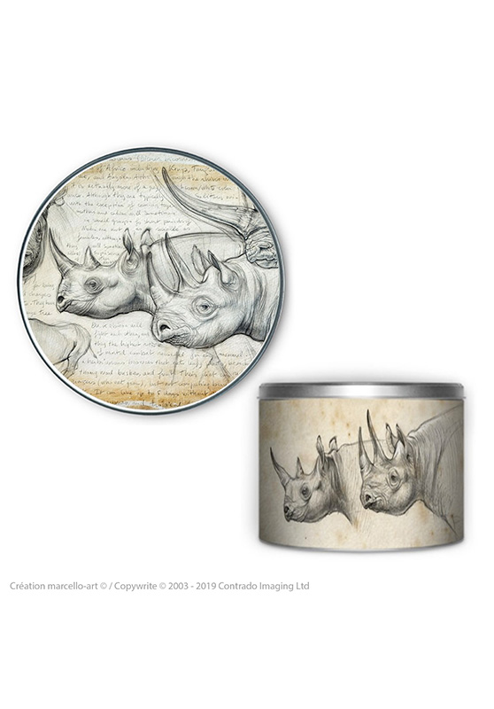 Marcello-art: Decoration accessoiries Round biscuit box 176 black rhino