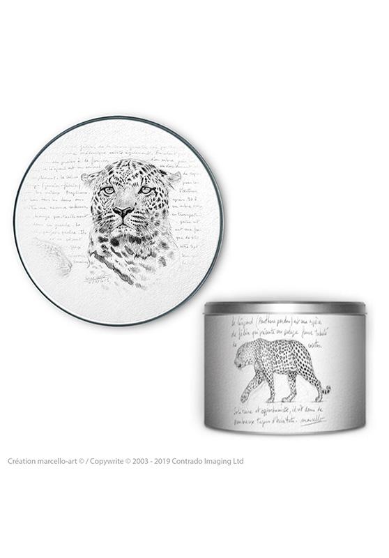 Marcello-art : Accessoires de décoration Boîte à biscuits ronde 280 léopard