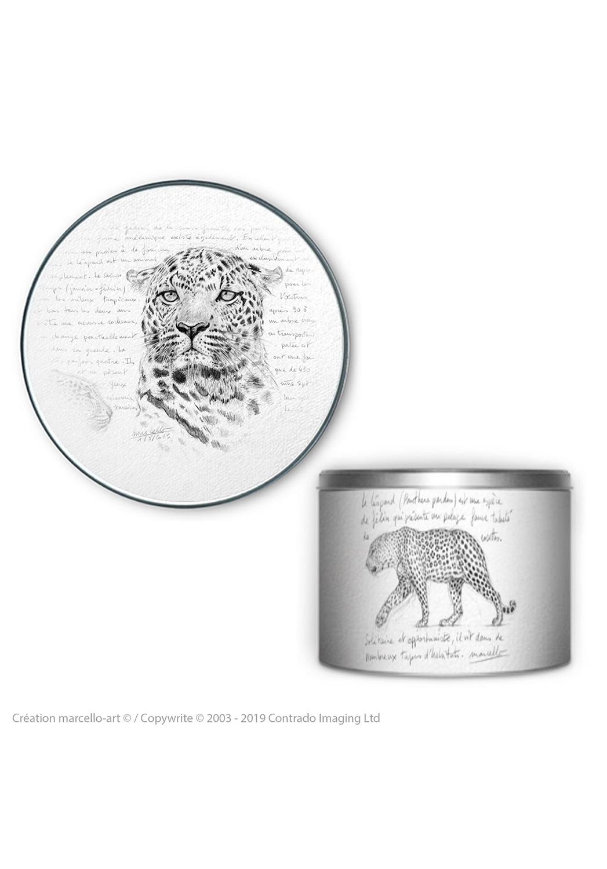 Marcello-art: Decoration accessoiries Round biscuit box 280 leopard