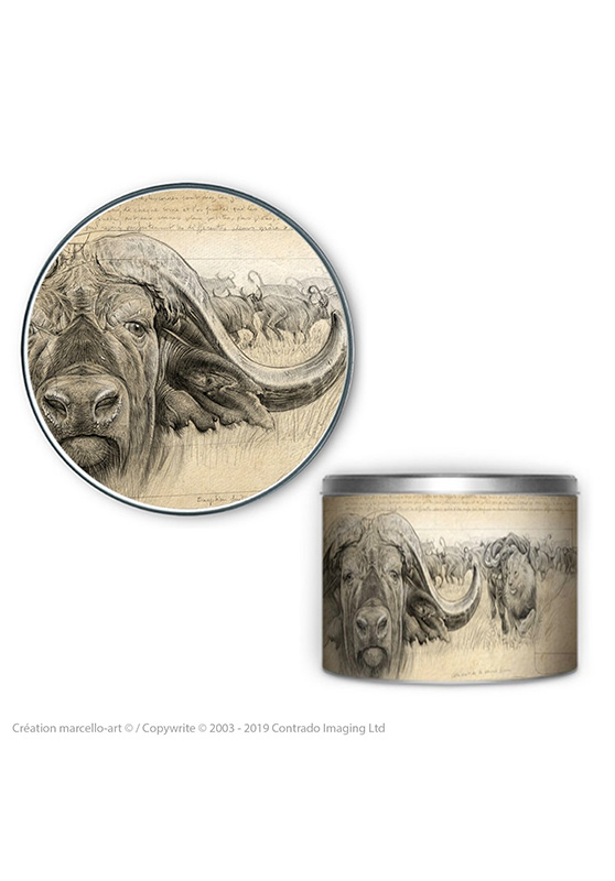 Marcello-art: Decoration accessoiries Round biscuit box 274 cap buffalo engraving