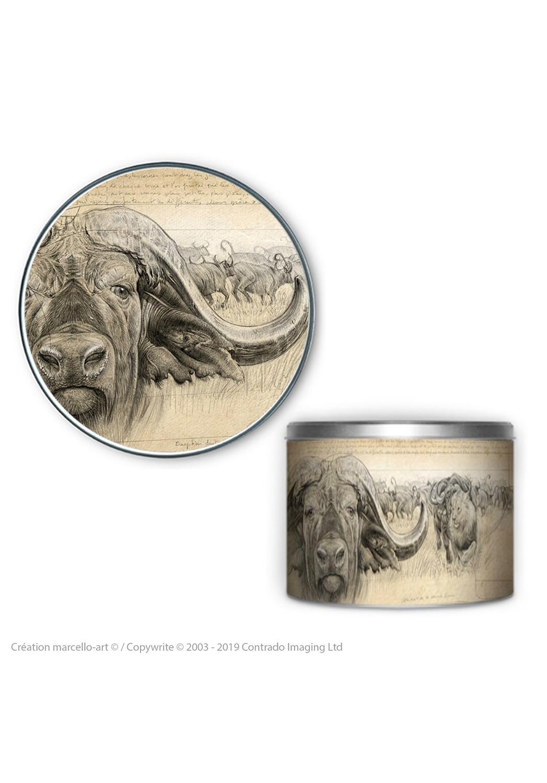 Marcello-art: Decoration accessoiries Round biscuit box 274 cap buffalo engraving