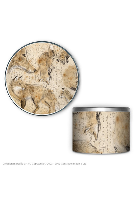 Marcello-art: Decoration accessoiries Round biscuit box 336 red fox