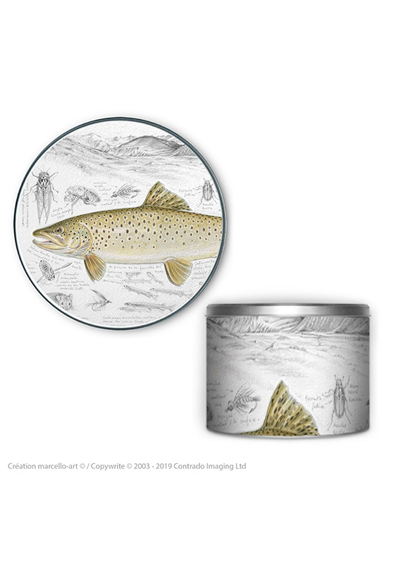 Marcello-art: Decoration accessoiries Round biscuit box 372 brown trout