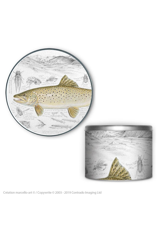 Marcello-art: Decoration accessoiries Round biscuit box 372 brown trout