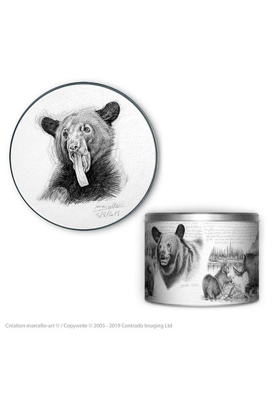 Marcello-art : Accessoires de décoration Boîte à biscuits ronde 382 ours noir