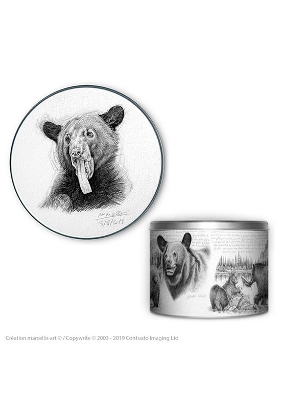 Marcello-art: Decoration accessoiries Round biscuit box 382 black bear