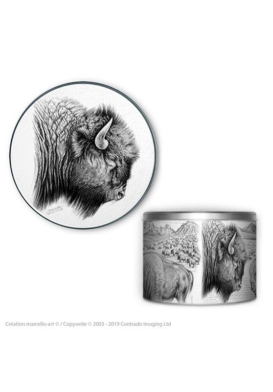 Marcello-art : Accessoires de décoration Boîte à biscuits ronde 390 bison
