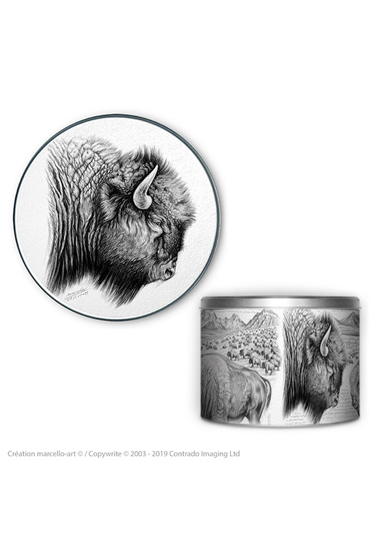 Marcello-art: Decoration accessoiries Round biscuit box 390 American buffalo
