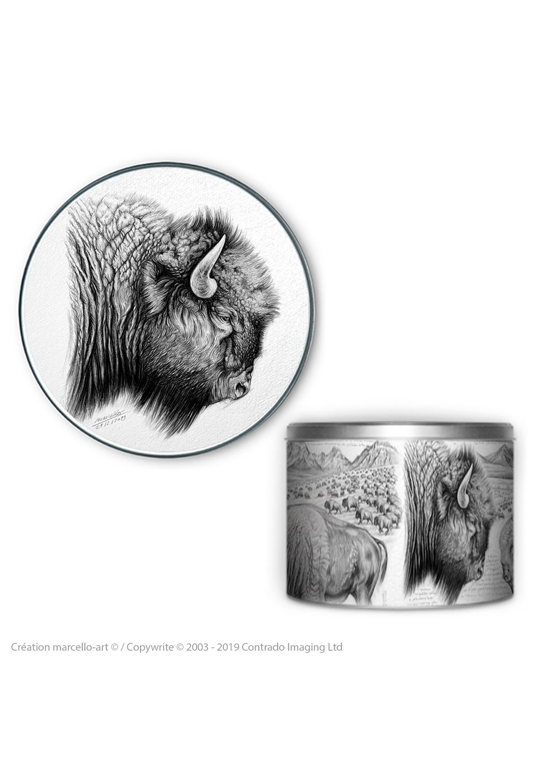 Marcello-art: Decoration accessoiries Round biscuit box 390 American buffalo