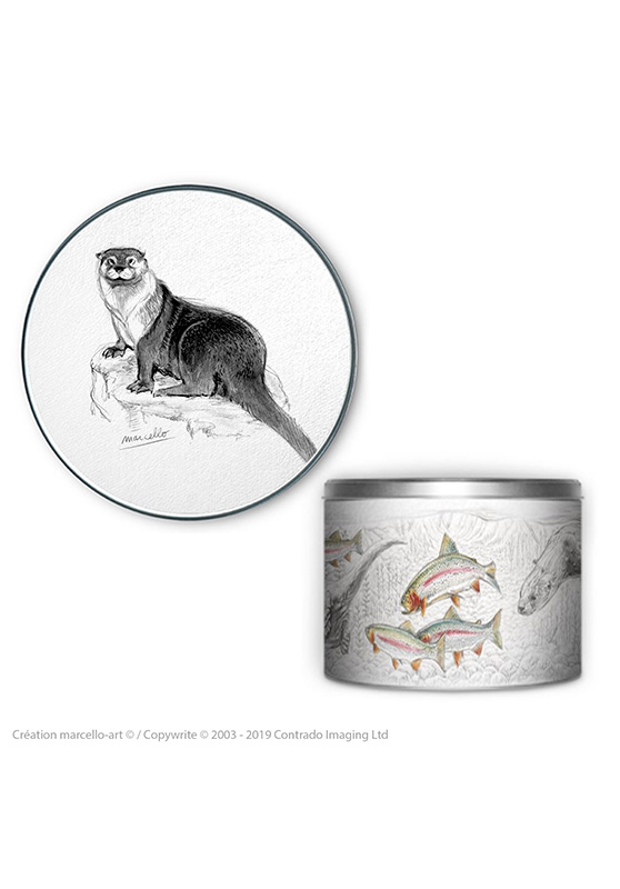 Marcello-art: Decoration accessoiries Round biscuit box 393 otter